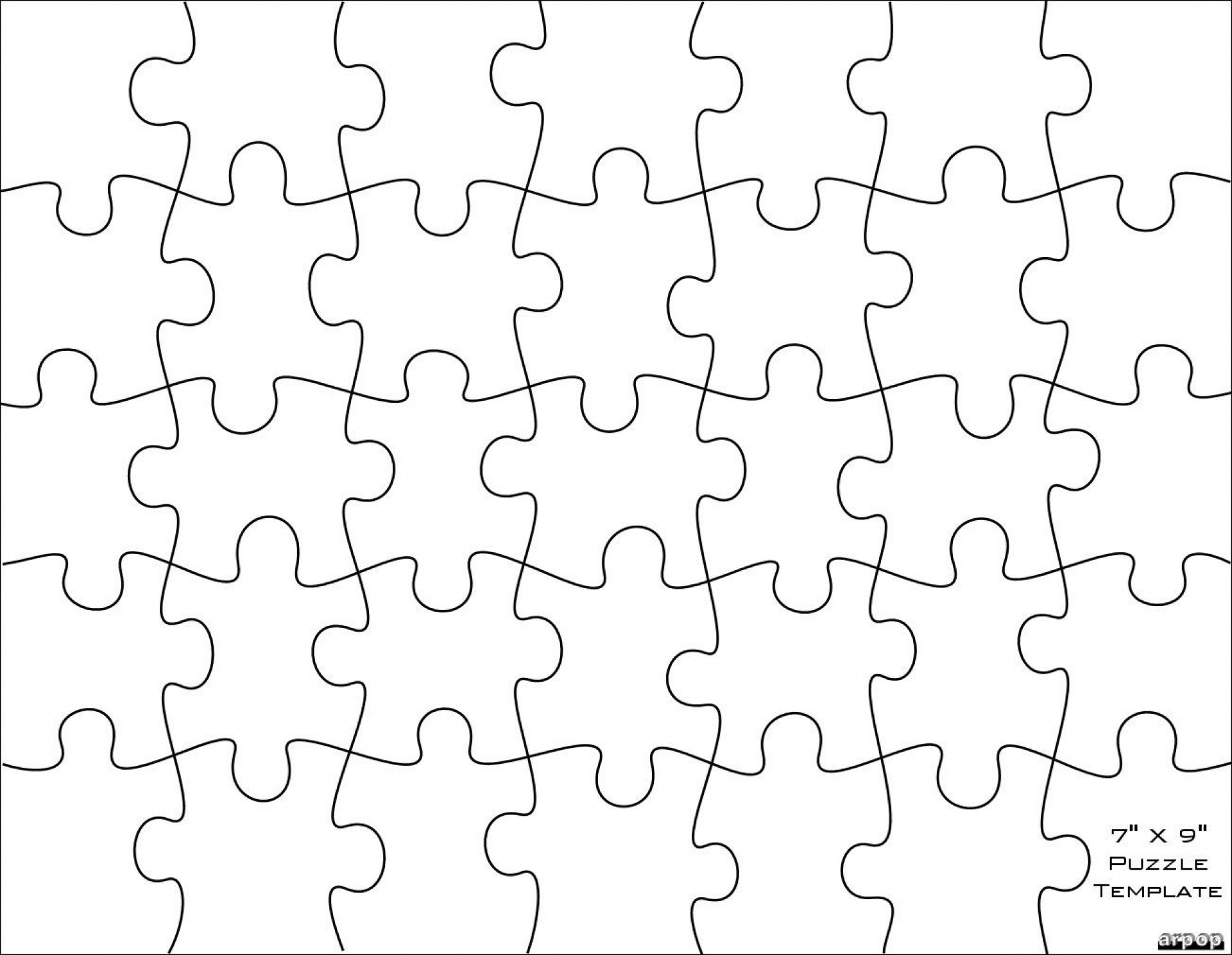 006 Jigsaw Puzzle Blank Template Twenty Pieces Simple Jig Saw - Printable Puzzle Blank