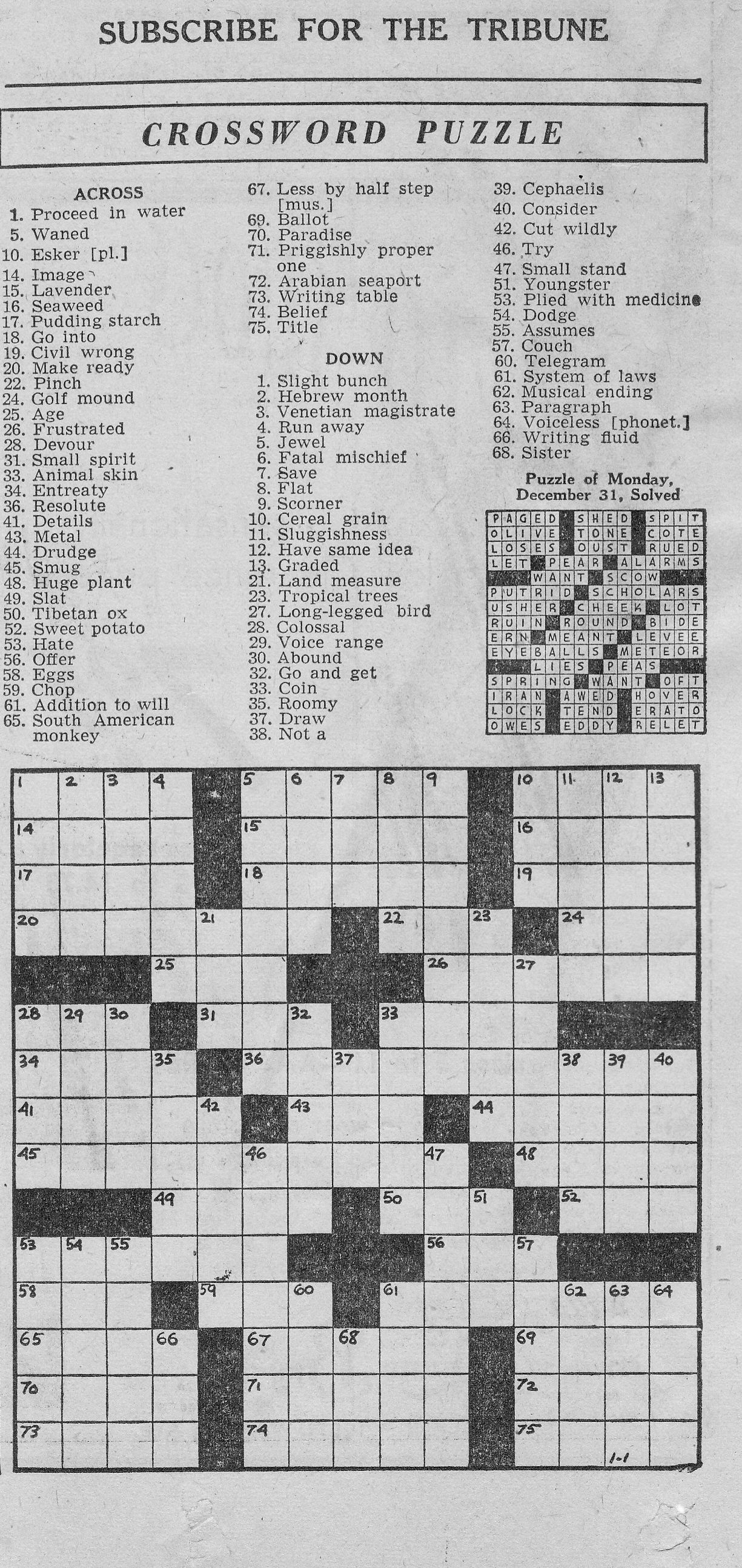 1/1/1946 Chicago Tribune Crossword Puzzle | Vintage Chicago - Printable Tribune Crossword