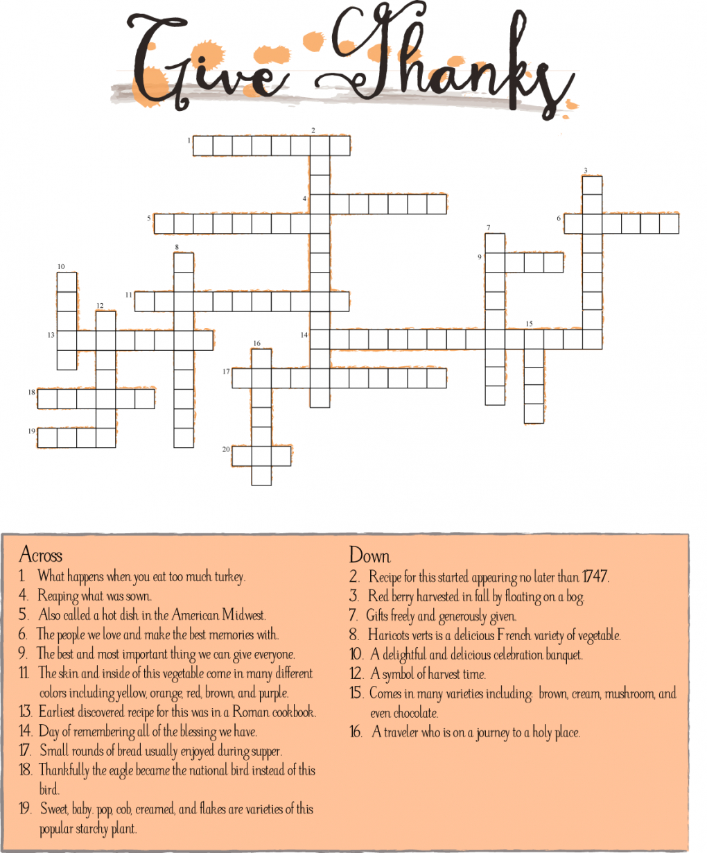 10 Superfun Thanksgiving Crossword Puzzles | Kittybabylove - Printable Crossword Puzzles For Thanksgiving