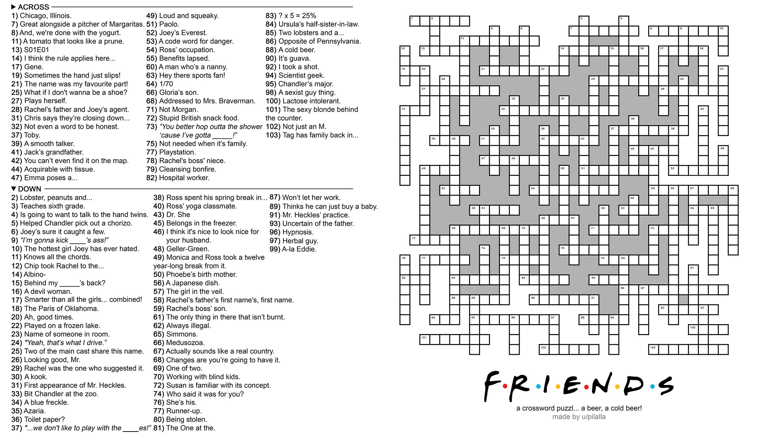 104 Word 'friends' Themed Crossword Puzzle : Howyoudoin - Friends Crossword Puzzle Printable