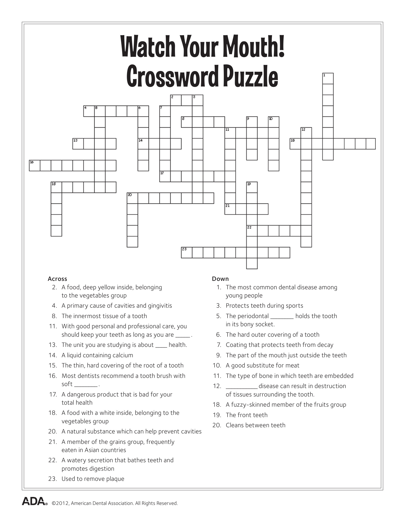 11 Dental Health Activities – Puzzle Fun (Printable) | Personal Hygiene - Trivia Crossword Puzzles Printable