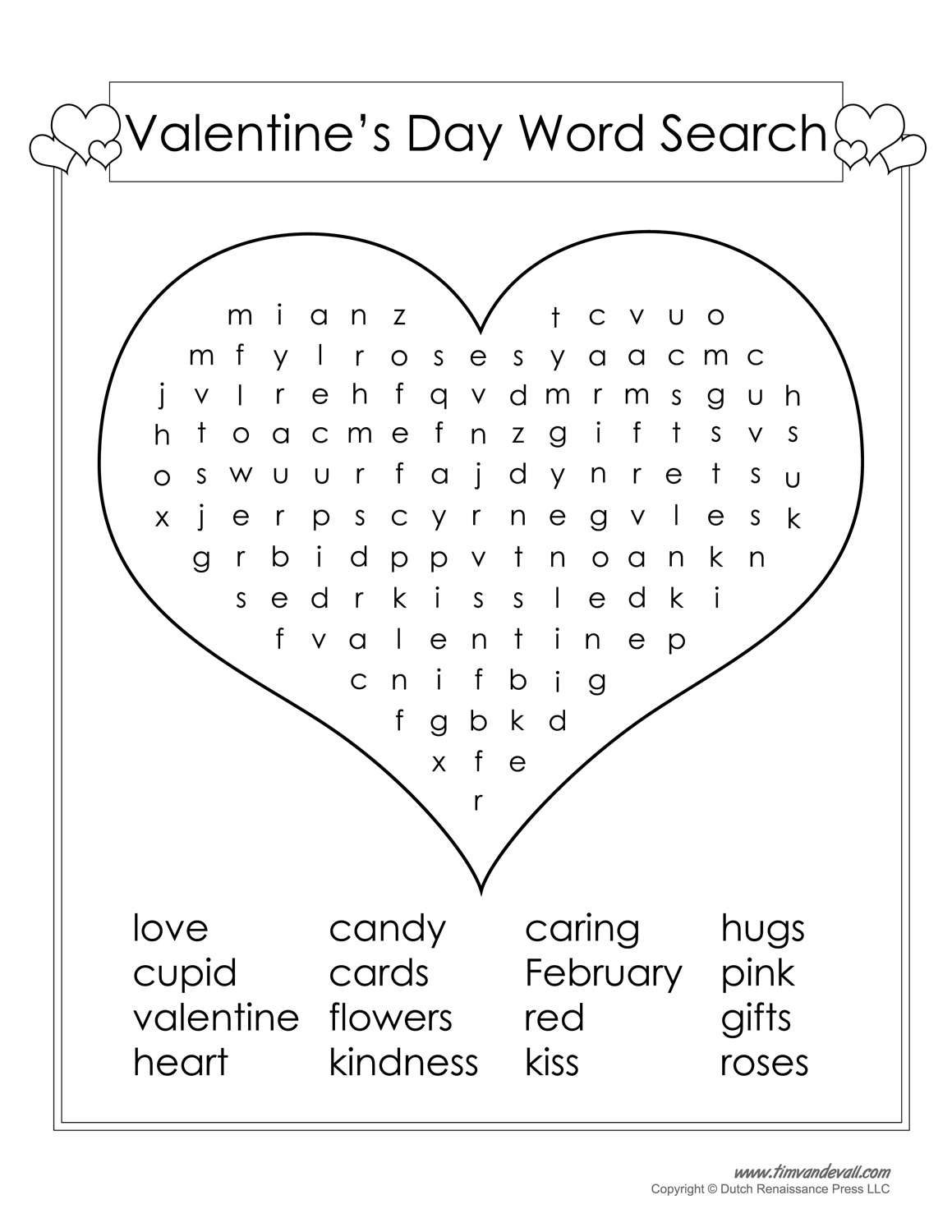 12 Valentine's Day Word Search | Kittybabylove - Printable Valentine Puzzles Games