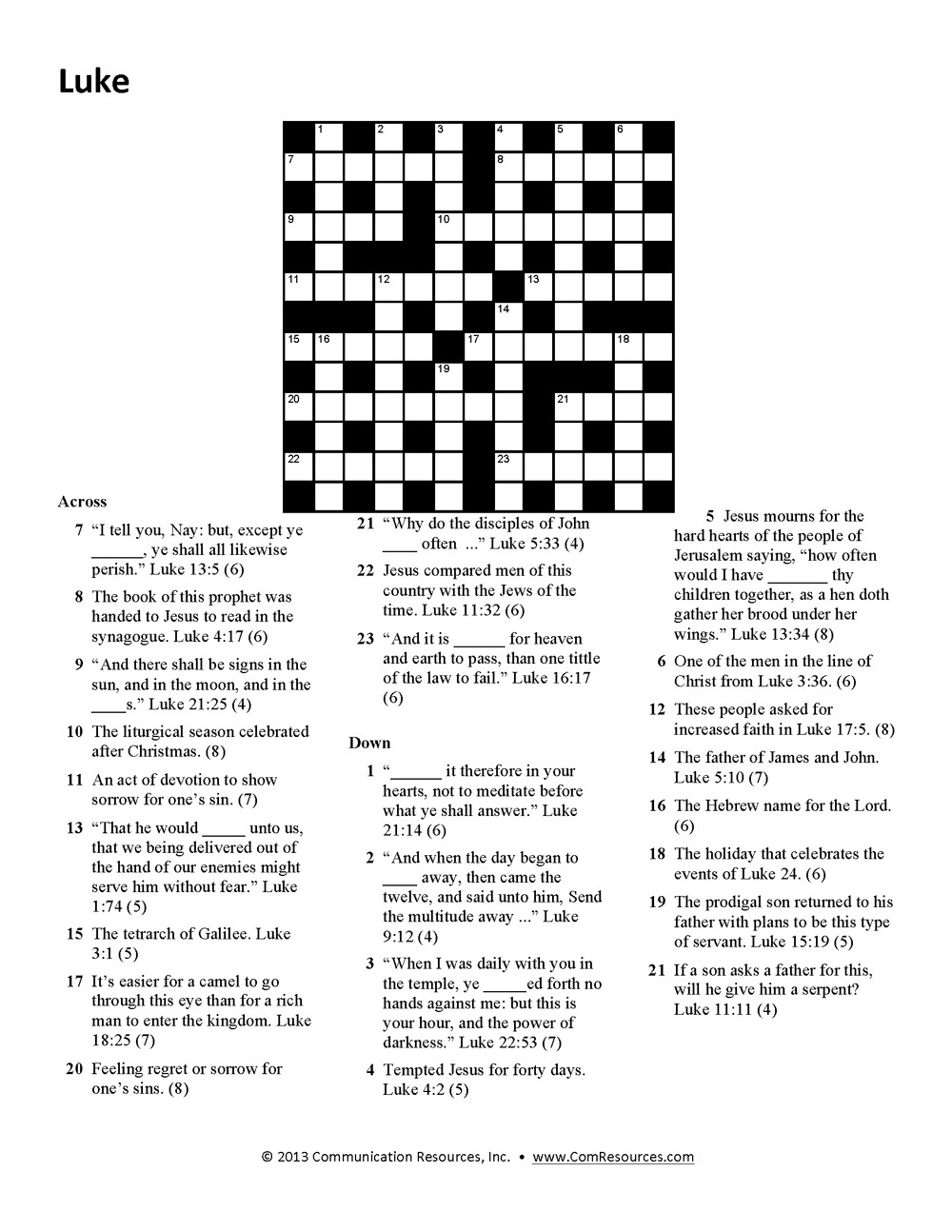 15 Fun Bible Crossword Puzzles | Kittybabylove - Free Printable Religious Crossword Puzzles