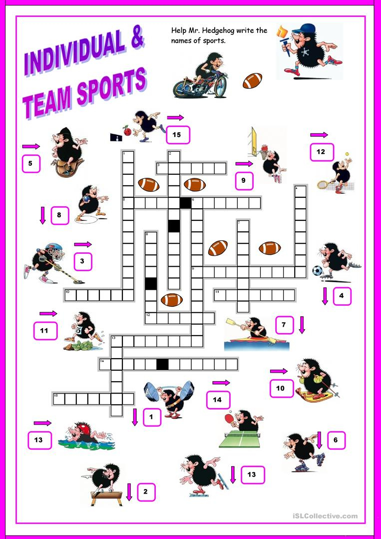 16 Free Esl Sports Crossword Worksheets - Free Printable Sports - Printable Sports Crossword Puzzles For Adults