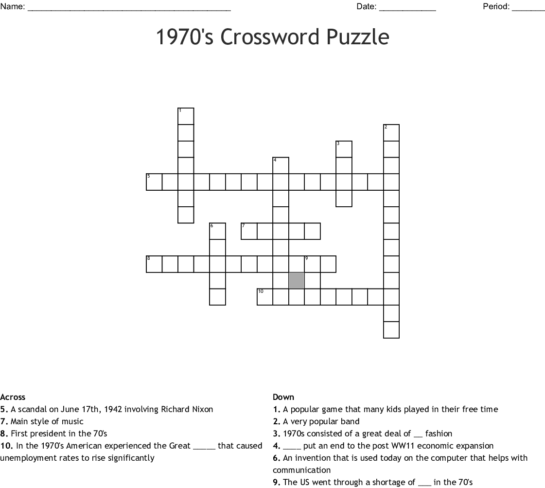1970's Crossword Puzzle Crossword - Wordmint - Crossword Puzzles Printable 1980S