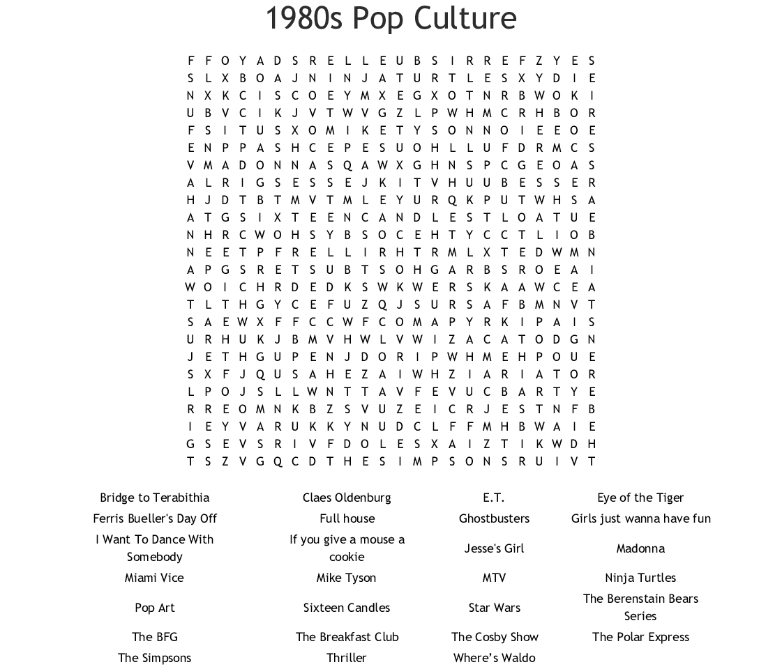 1980S Pop Culture Word Search - Wordmint - Crossword Puzzles Printable 1980S