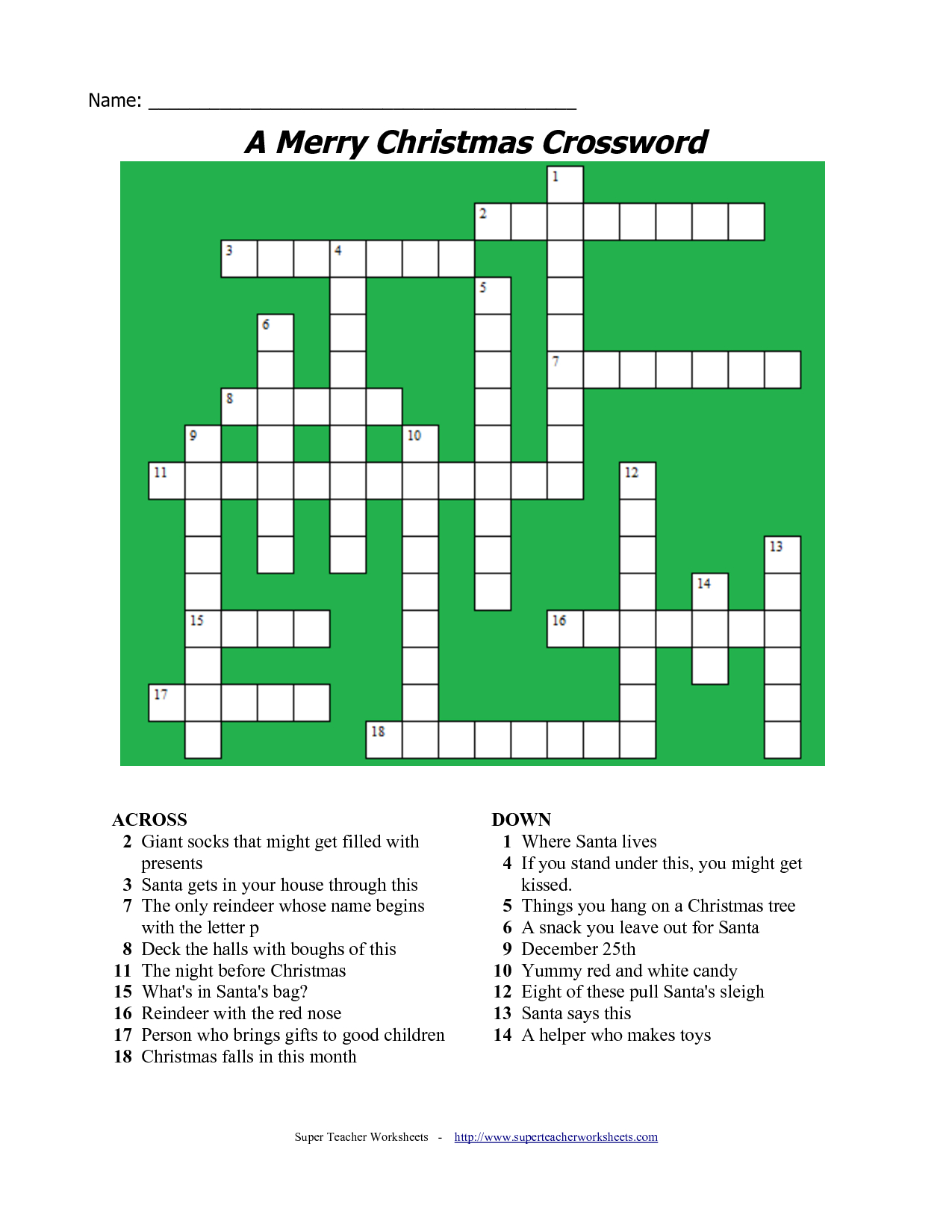 20 Fun Printable Christmas Crossword Puzzles | Kittybabylove - Christmas Printable Crossword Puzzles Adults