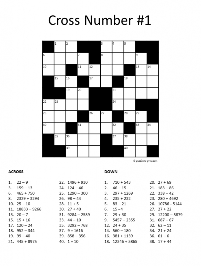 20 Math Puzzles To Engage Your Students | Prodigy - Printable Crosswords For 5 Year Olds