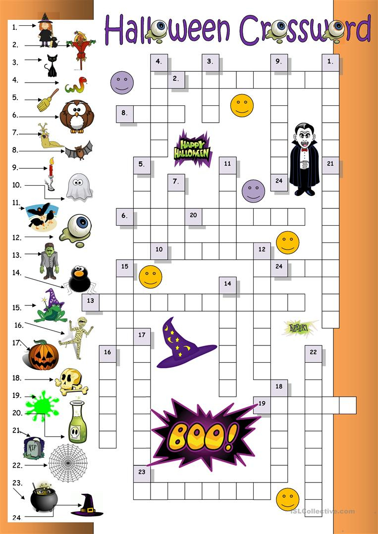 23 Free Esl Halloween Crossword Worksheets - Halloween Crossword Puzzle Printable
