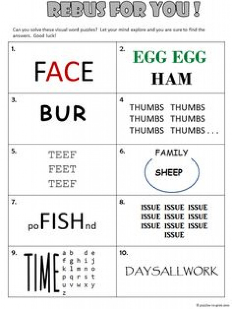 34 Best Rebus Puzzles Images On Pinterest | Puzzles, Brain Teaser - Printable Thinking Puzzles