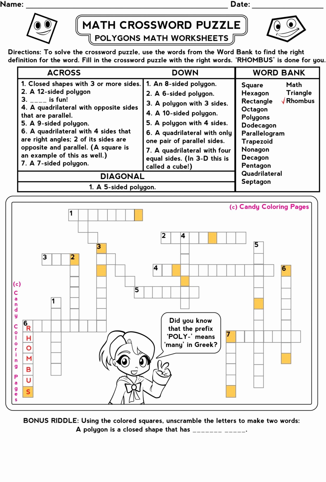 4Th Grade Math Riddles Best Of Magic Square Worksheets - Crossword Puzzle Printable 3Rd Grade