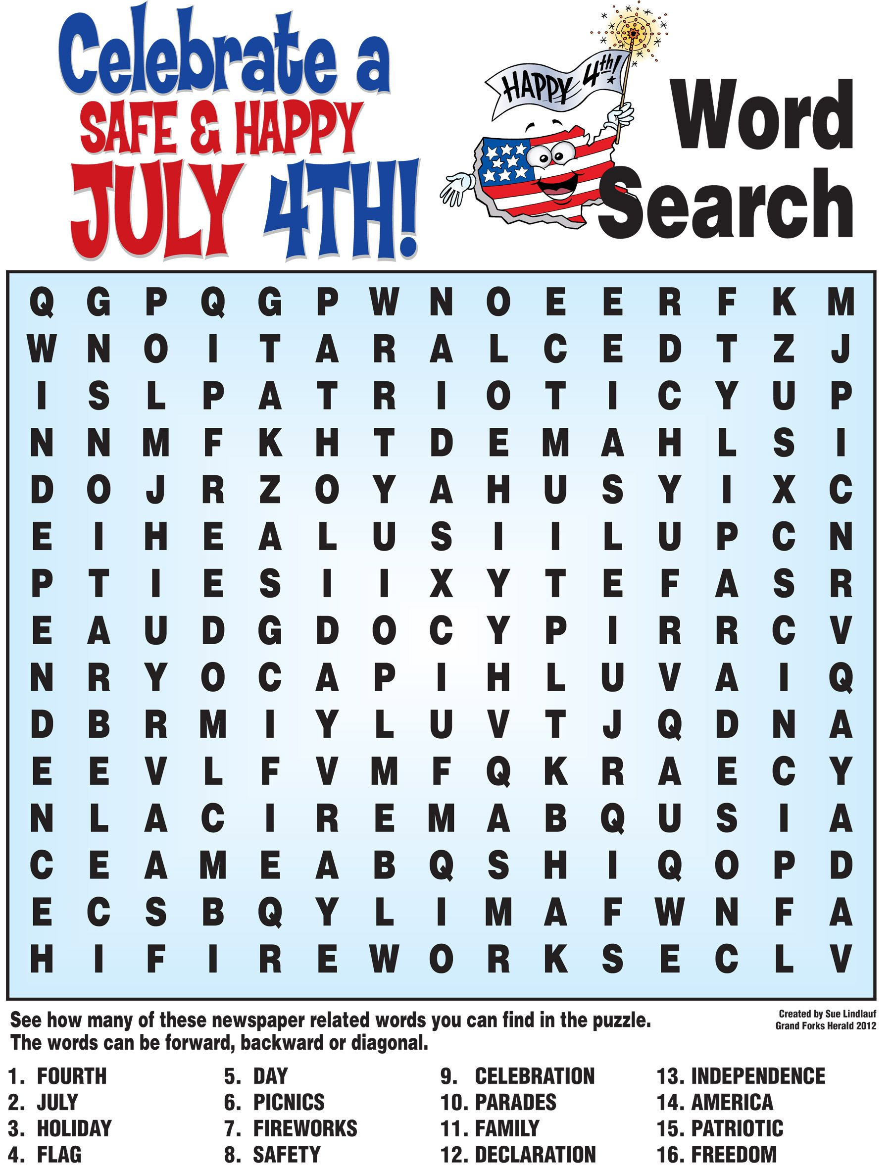 4Th Of July Word Search, History Quiz And More! | Childrens Church - Printable Fourth Of July Crossword Puzzles