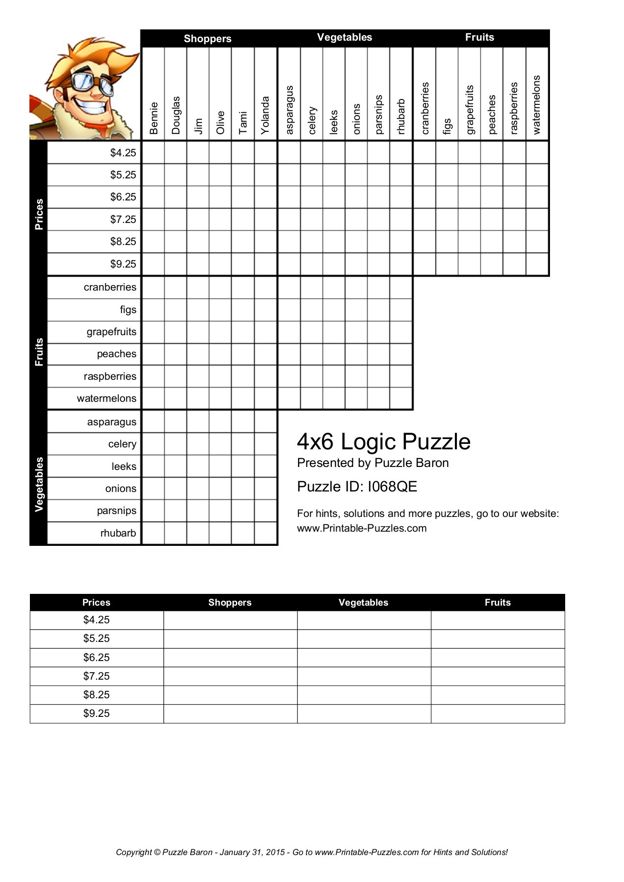 4X6 Logic Puzzle - Logic Puzzles - Play Online Or Print  Pages 1 - Printable-Puzzles.com Answers