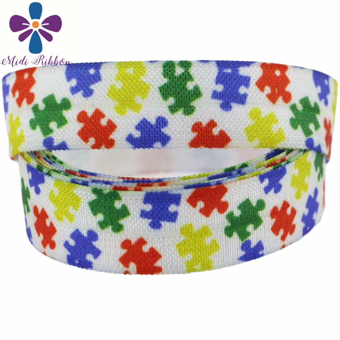 "5/8""16Mm Jigsaw Puzzle Series Heart Shapes Peace Printed Fold Over - Puzzle Print Ribbon"