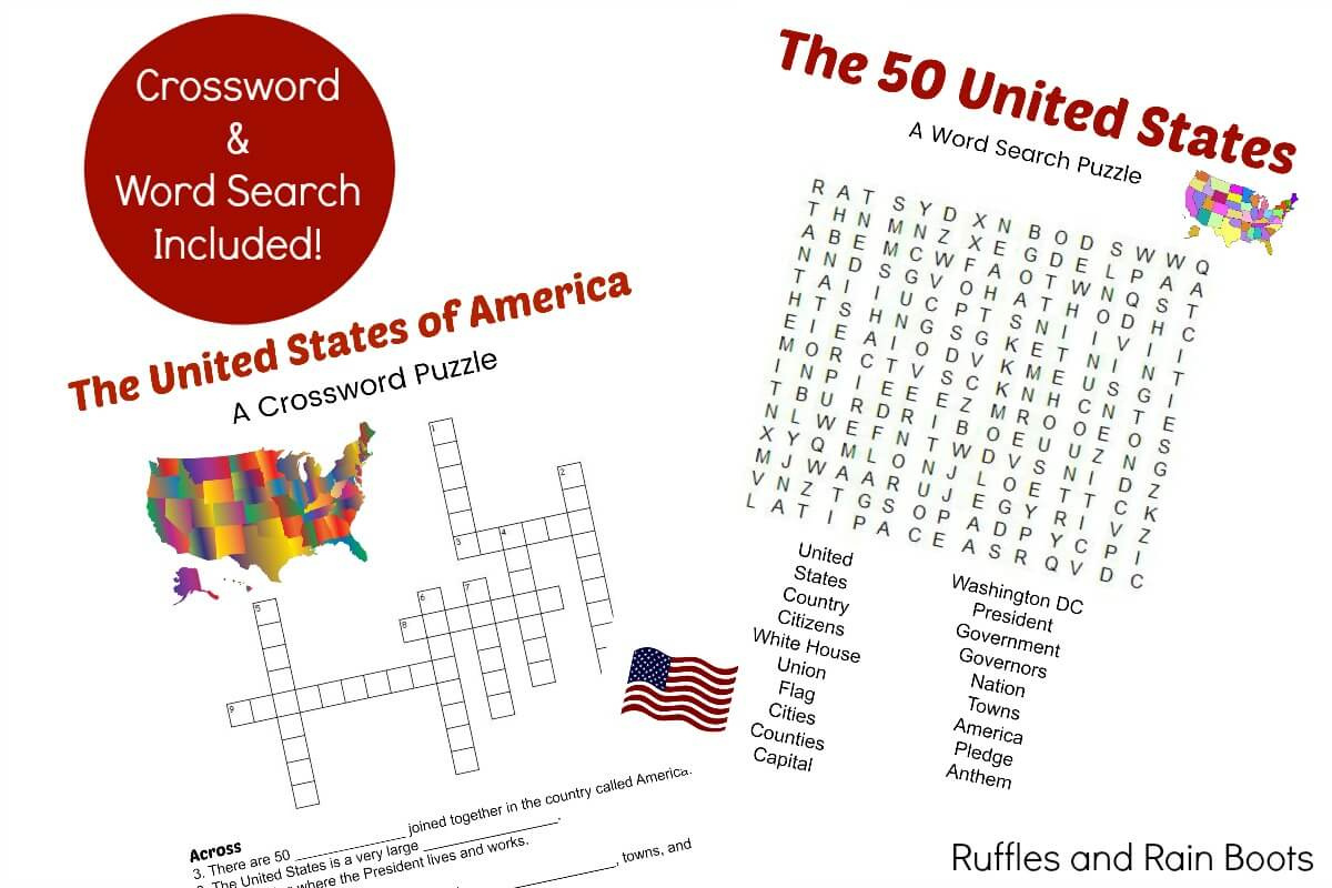 50 States Printable - Reading Comprehension, Games, And More - Printable 50 States Crossword Puzzles