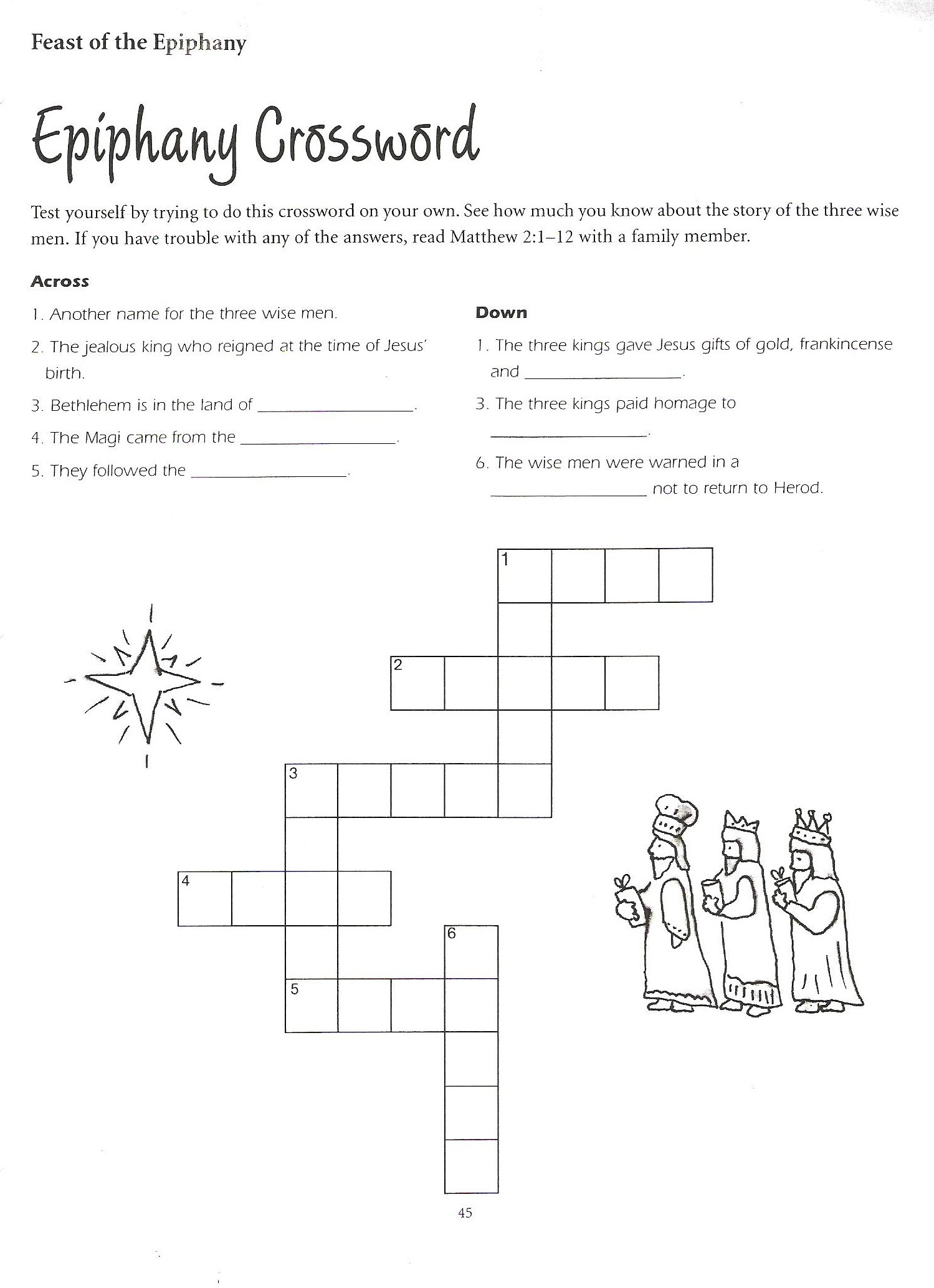 5Th Grade Catechist Resources - Church Of St. Peter's Mendota Church - Printable Epiphany Crossword Puzzle