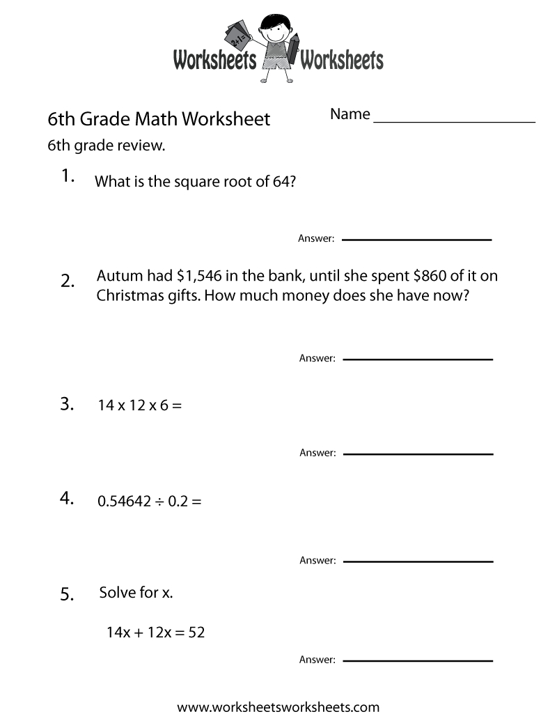 6 Grade Math Worksheets | Sixth Grade Math Practice Worksheet - Free - Printable Puzzles For 6Th Grade