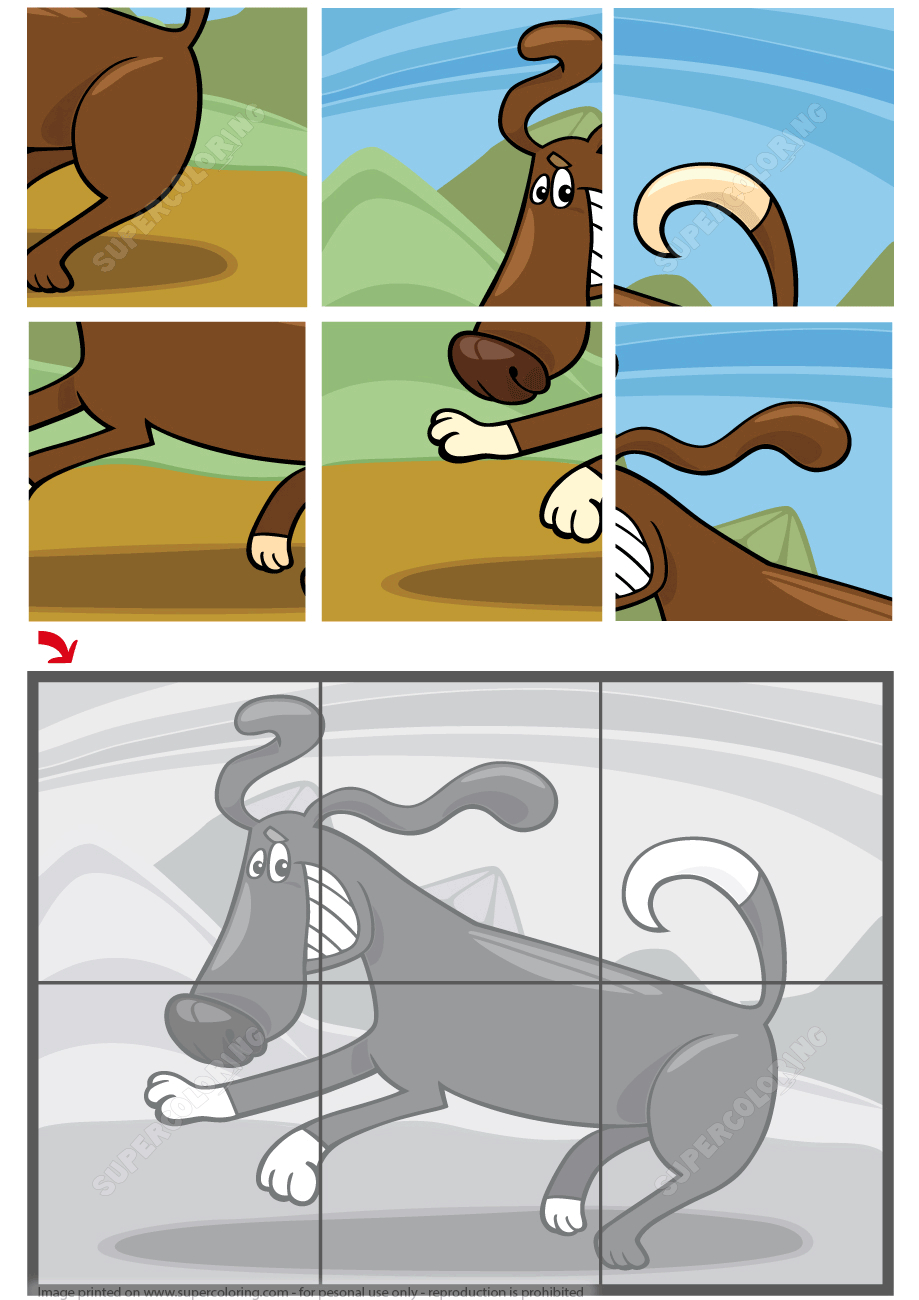 6 Piece Jigsaw Puzzle With A Running Dog | Free Printable Puzzle Games - Printable Jigsaw Puzzles 6 Pieces