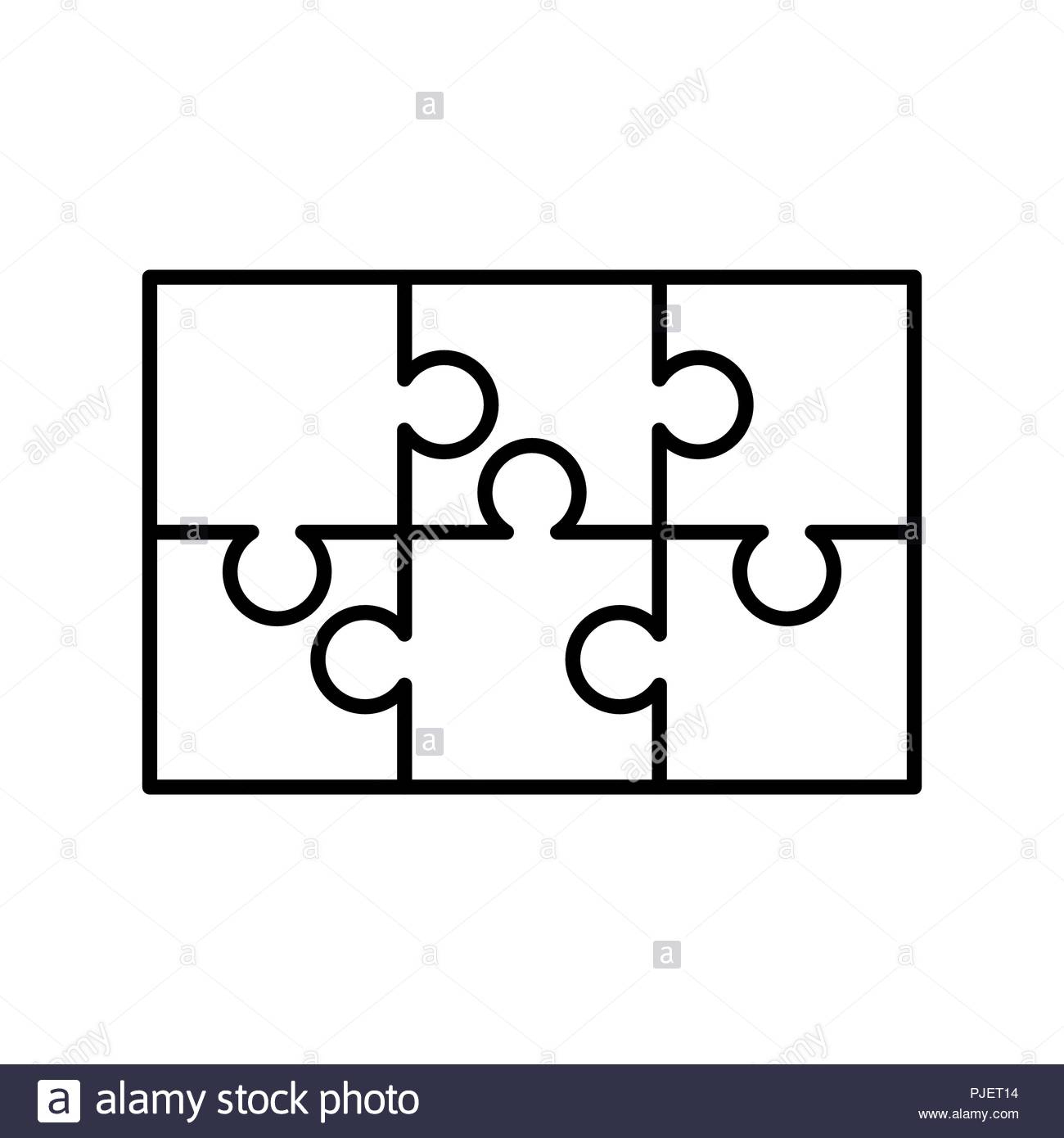 6 White Puzzles Pieces Arranged In A Rectangle Shape. Jigsaw Puzzle - 6 Piece Printable Puzzle