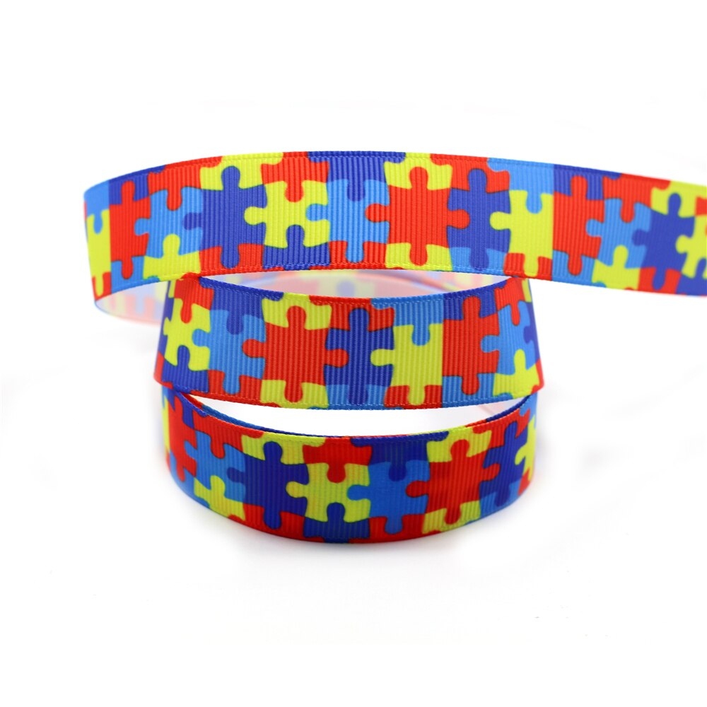 6Mm 75Mm Autism Awareness Puzzle Printed Grosgrain Ribbon/foe Band - Puzzle Print Ribbon