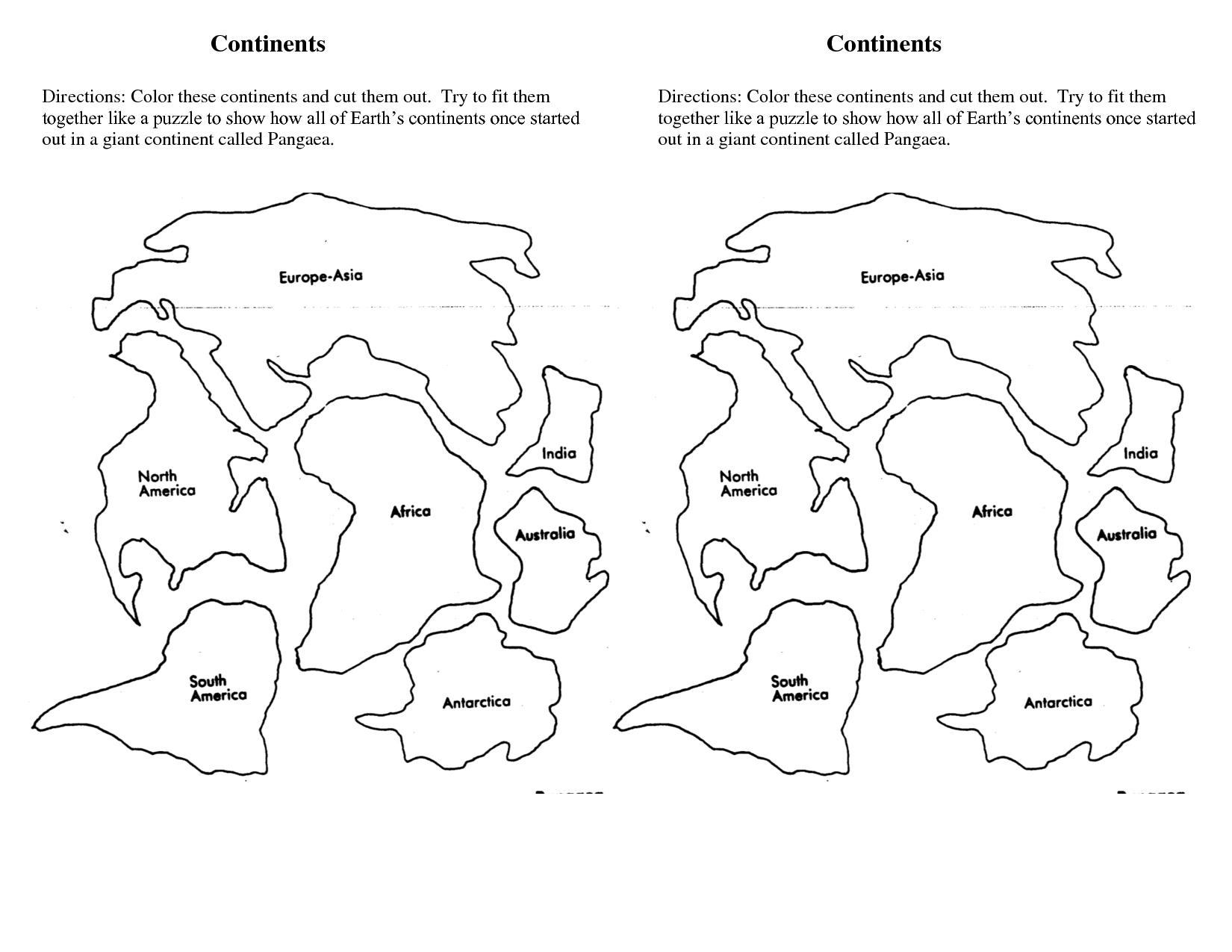7 Continents Cut Outs Printables | World Map Printable | World Map - 7 Piece Printable Puzzle