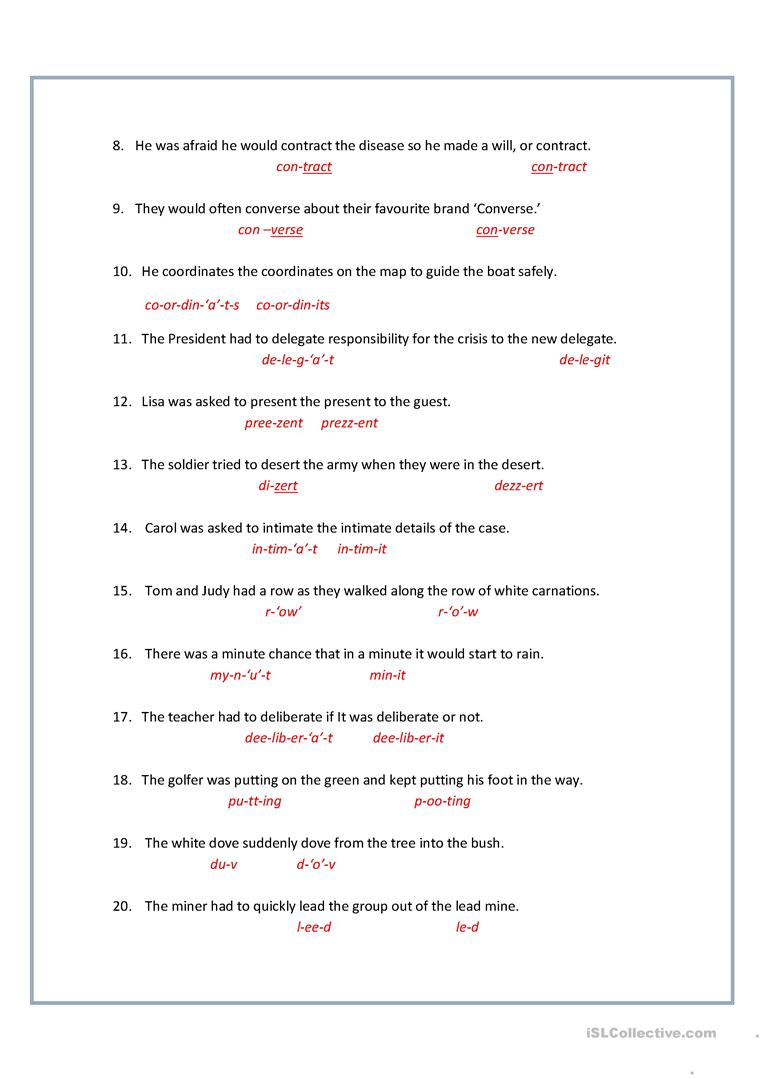 8+ Printable Homographs Examples - Pdf   Examples - Printable Homograph Puzzles