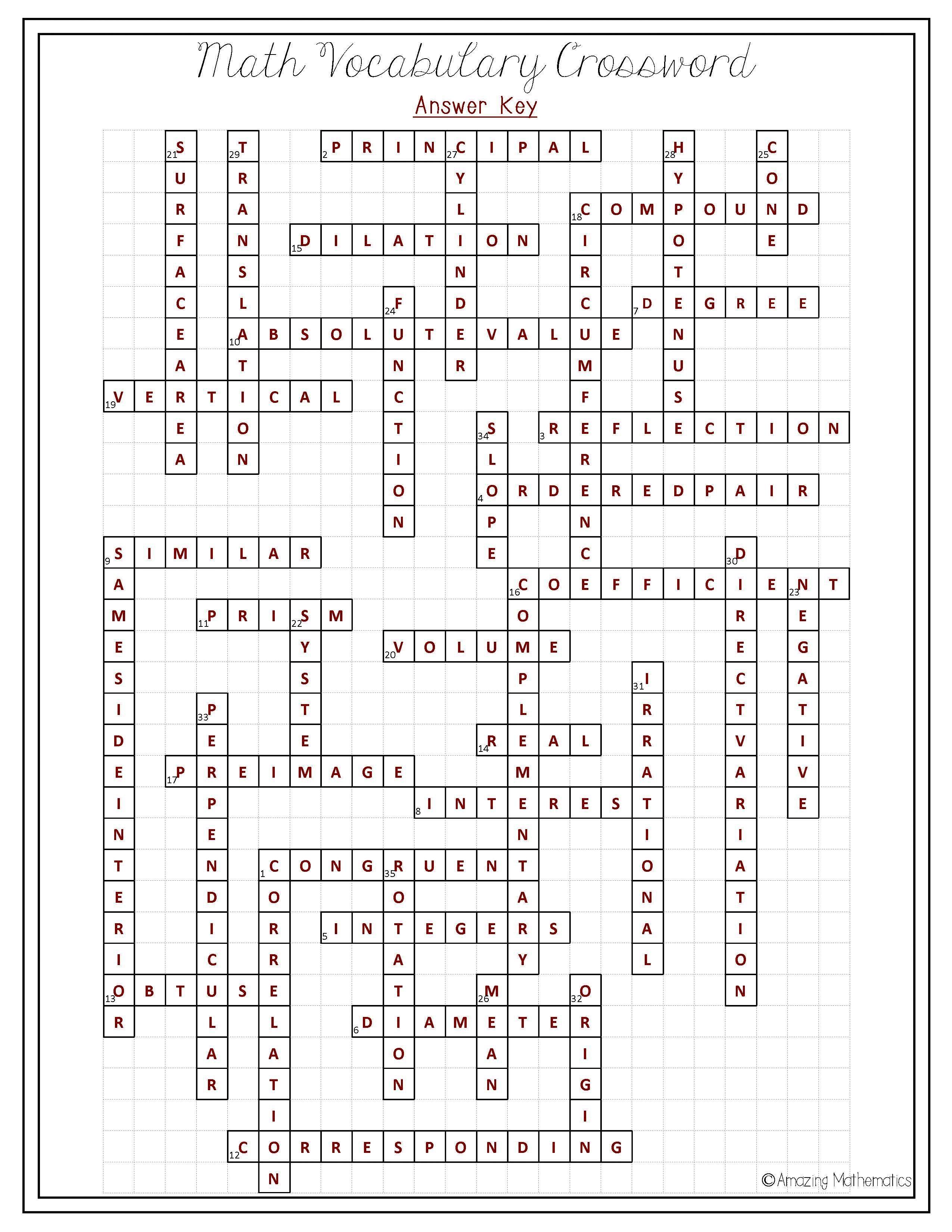 8Th Grade Math Vocabulary Crossword   Puzzles   Math Vocabulary, 8Th - Math Vocabulary Crossword Puzzles Printable
