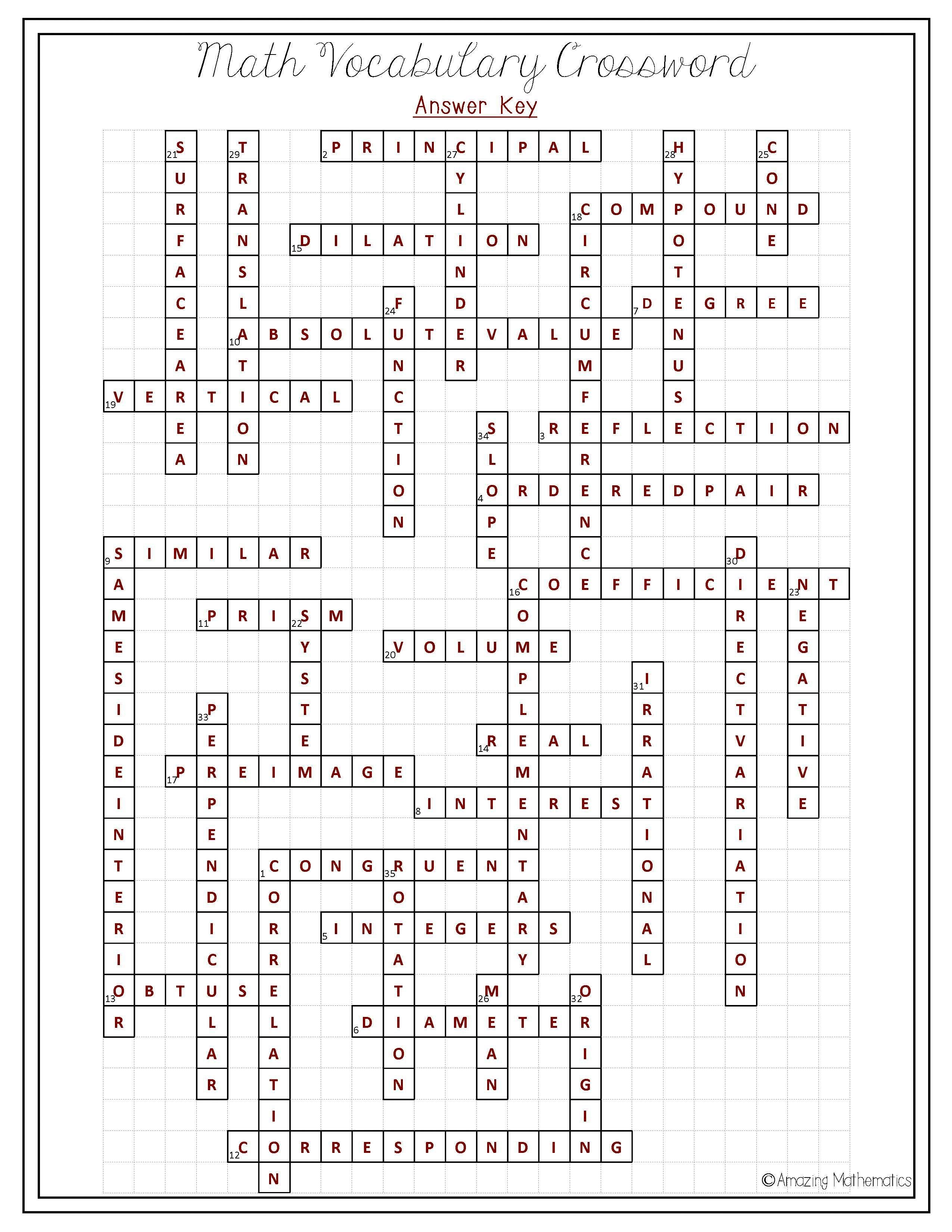 8Th Grade Math Vocabulary Crossword | Puzzles | Math Vocabulary, 8Th - Printable Math Vocabulary Crossword Puzzles