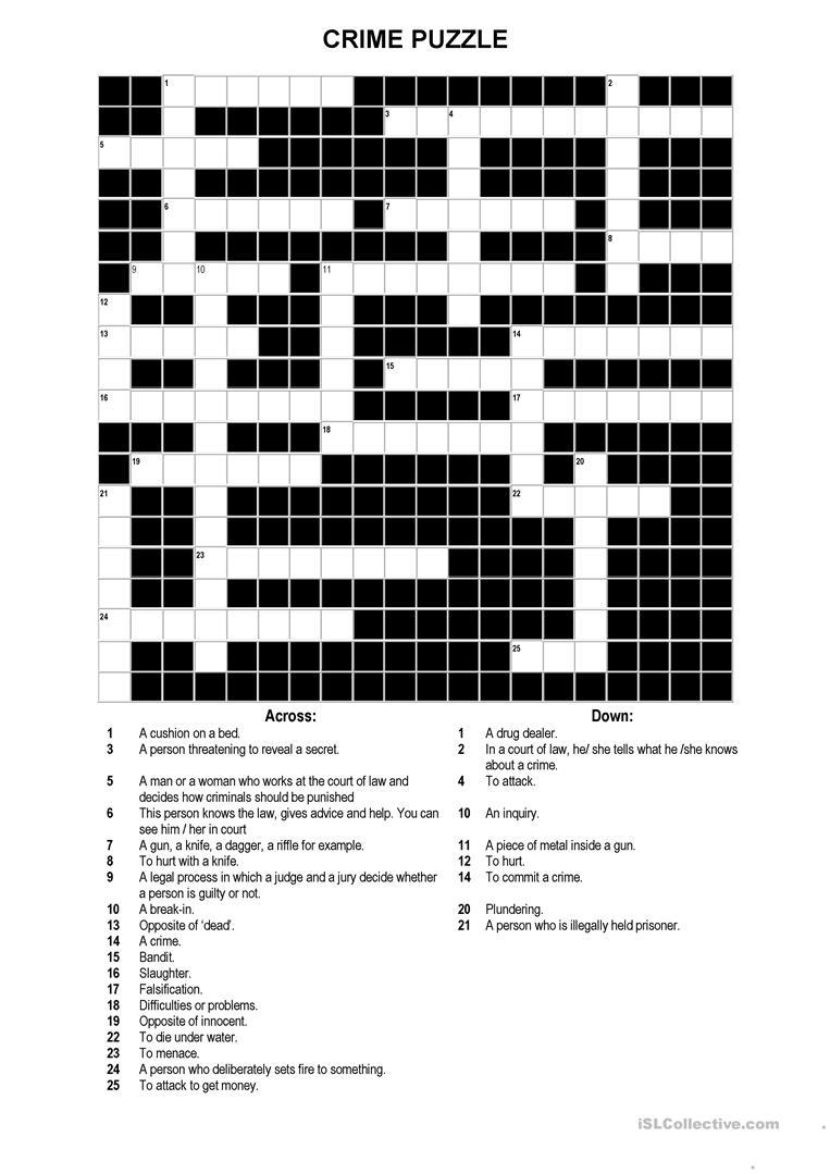 A Crossword Puzzle On Crime Worksheet - Free Esl Printable - Printable Crossword Puzzles Unblocked