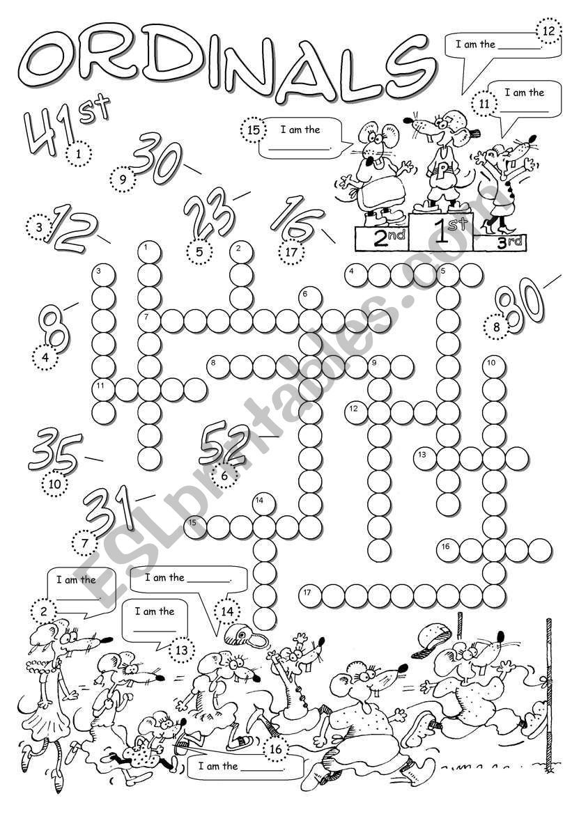 A Crossword To Revise Ordinal Numbers. Answer Key Included - Printable Gujarati Crossword Puzzles