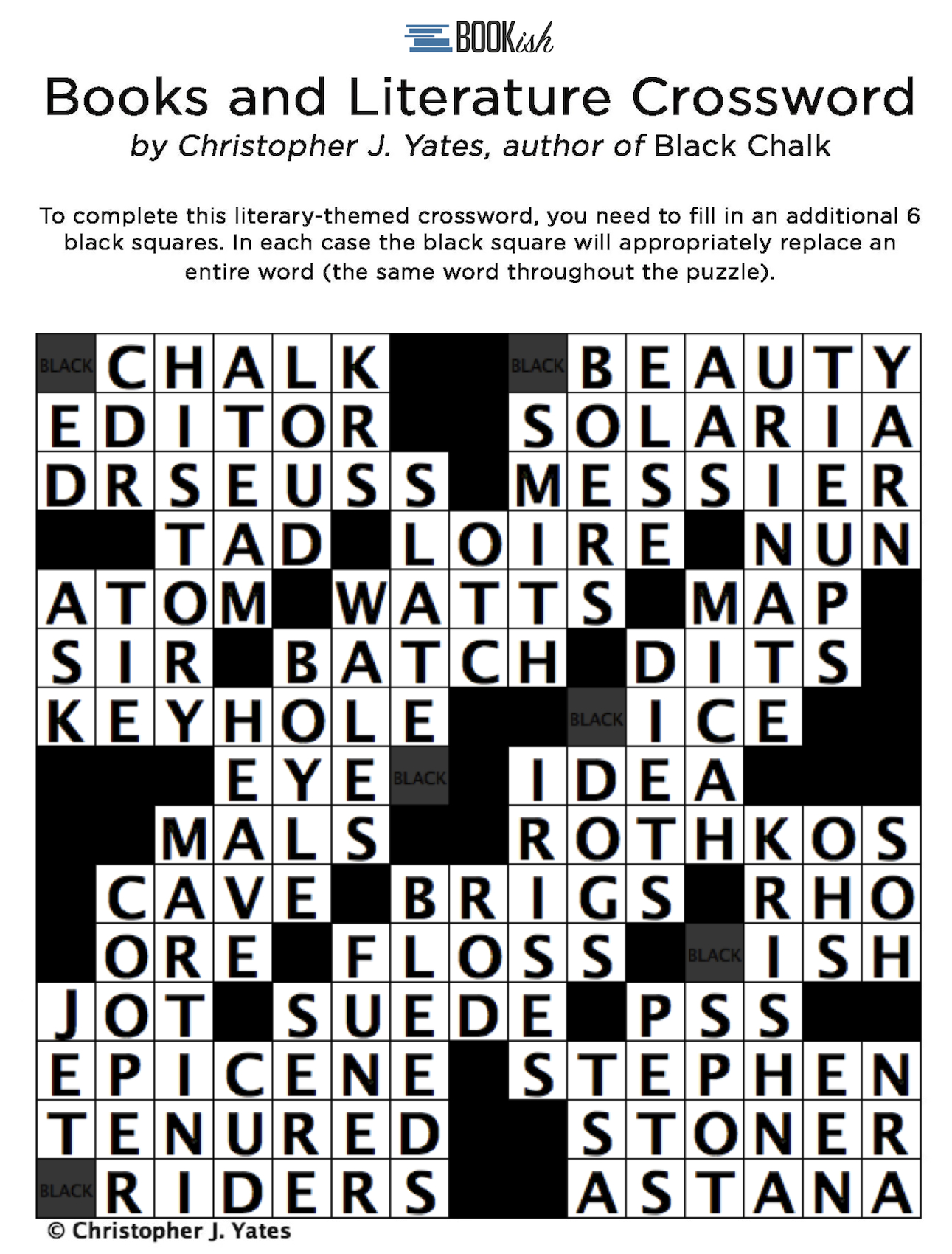 A Literary Crossword Puzzle From Thriller Author Christopher J - Literature Crossword Puzzles Printable