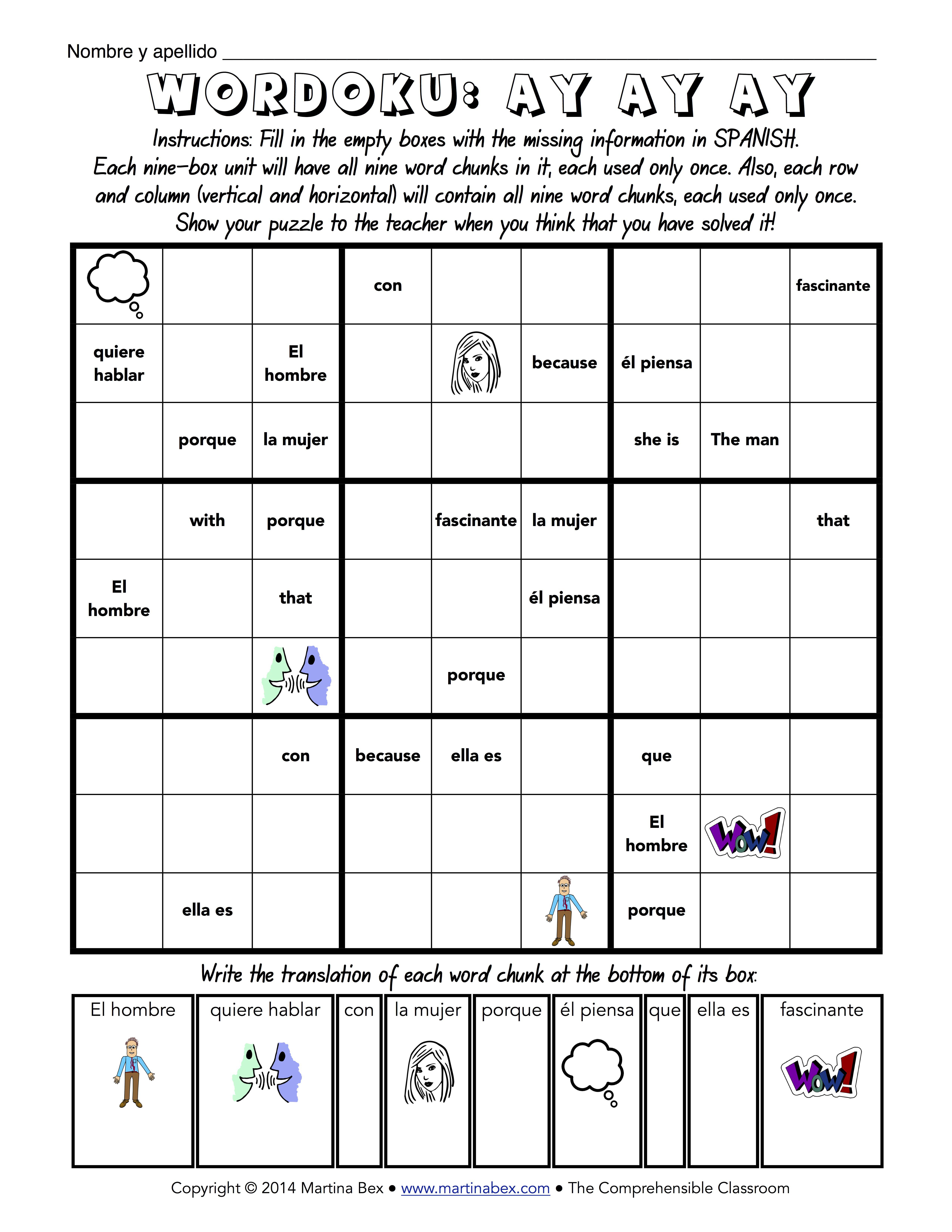 A New Way To Wordoku   Español   Spanish Classroom Activities - Printable Wordoku Puzzles