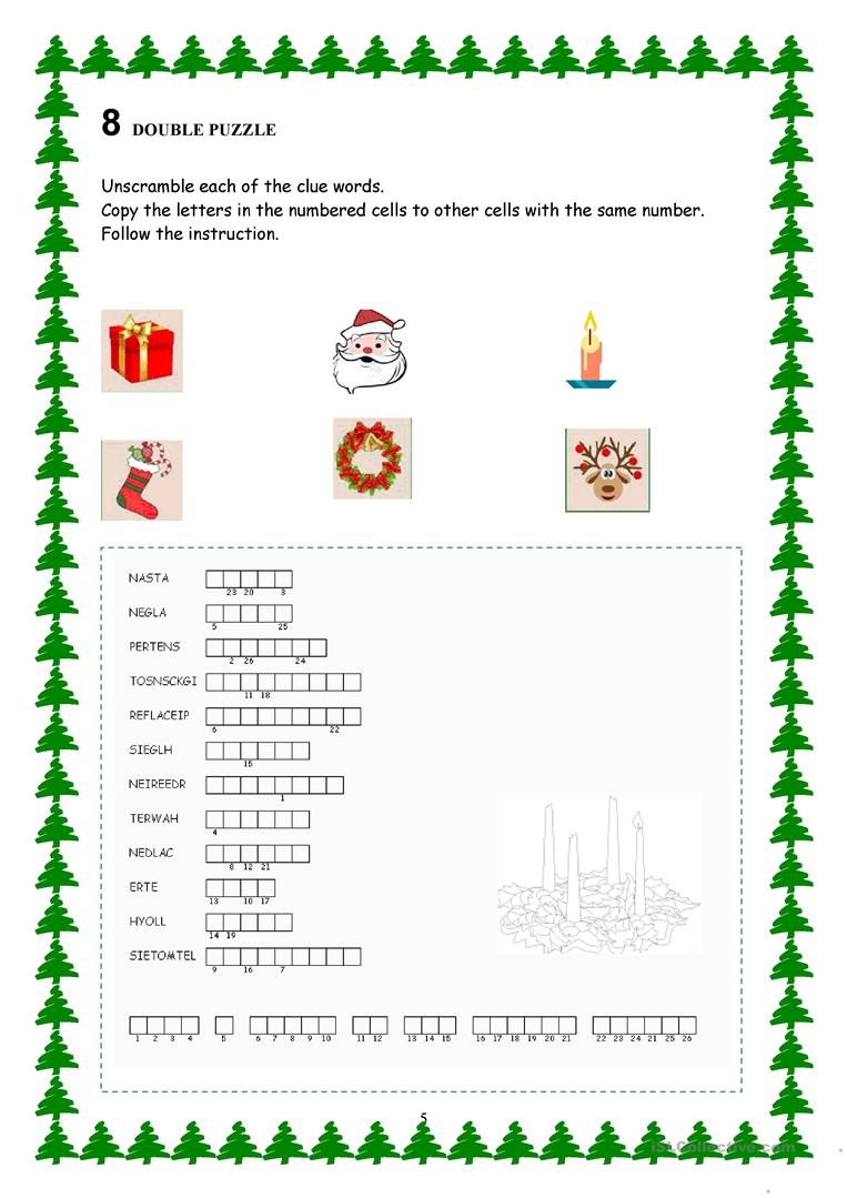 Advent Calendar - Christmas Activities Worksheet - Free Esl - Printable Advent Puzzle