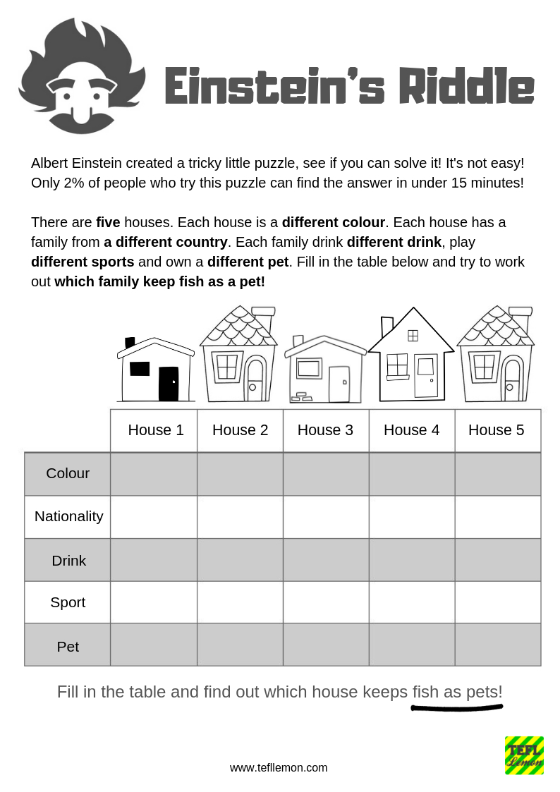 Albert Einstein's Riddle Has Been Turned Into A Fun Esl Lesson For - Printable Einstein Puzzles
