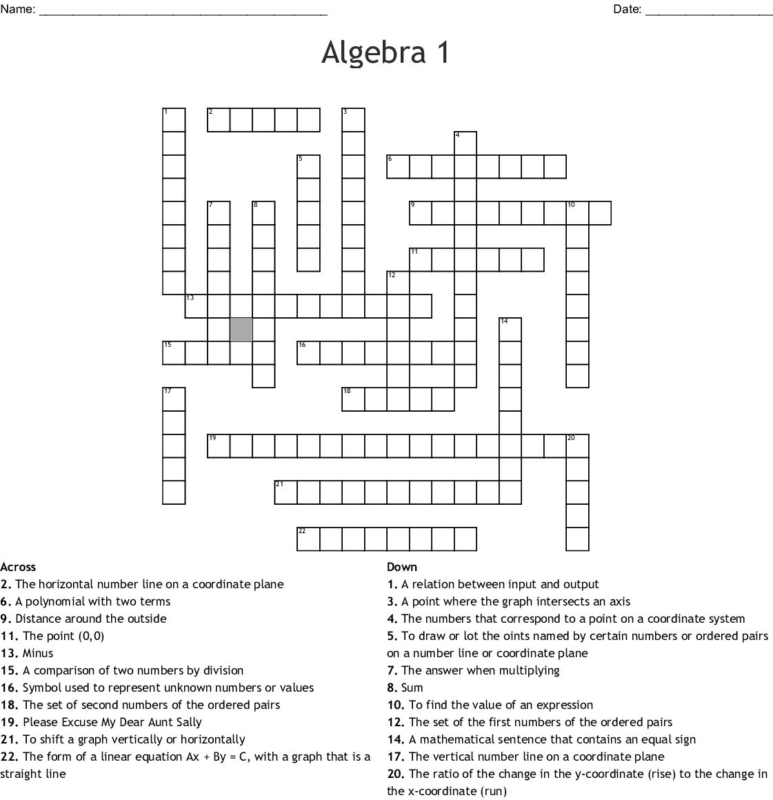 Algebra 1 Crossword - Wordmint - Algebra 1 Crossword Puzzles Printable