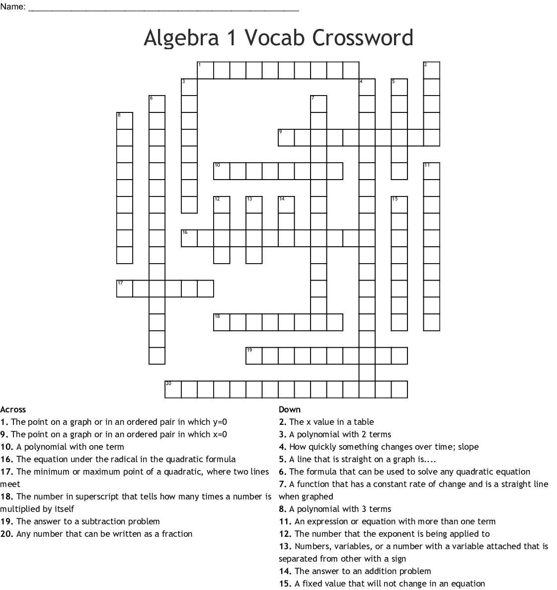 Algebra 1 Vocab Crossword - Wordmint - Algebra 1 Crossword Puzzles Printable