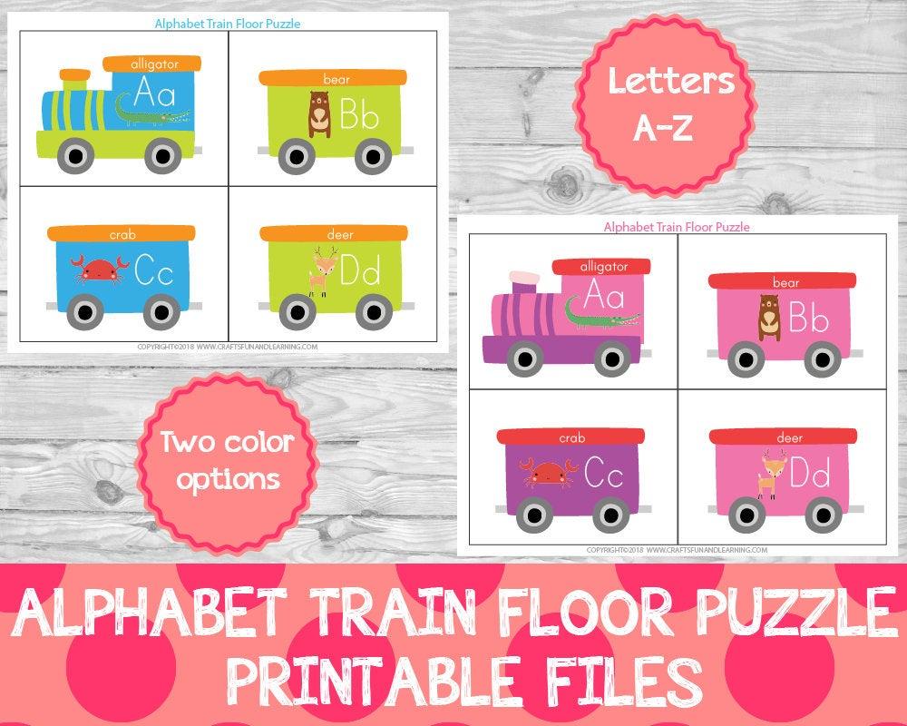Alphabet Train Floor Puzzle Preschool Printables Learning   Etsy - Printable Floor Puzzle