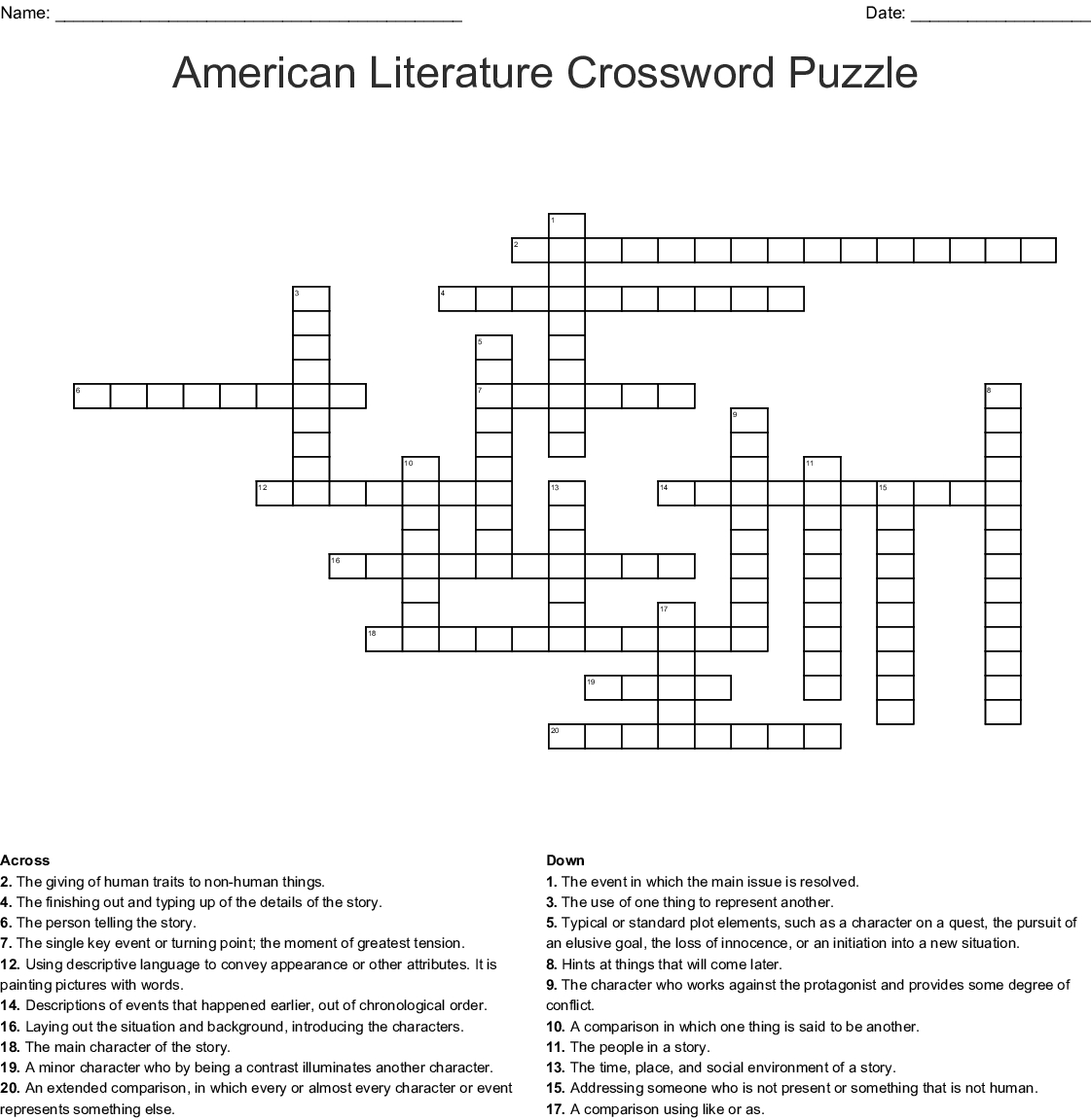 American Literature Crossword Puzzle Crossword - Wordmint - Printable Literature Crossword Puzzles