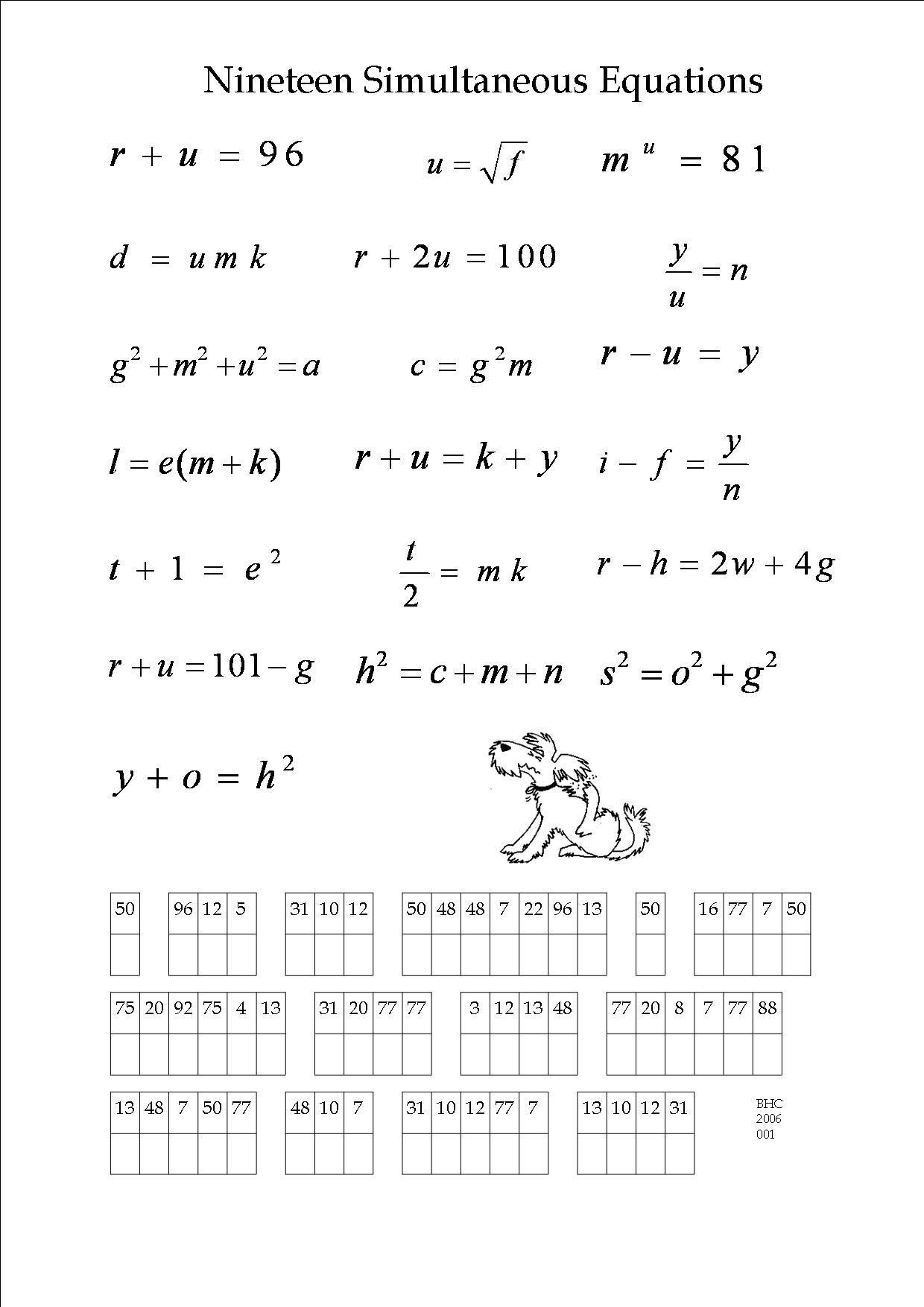 An Algebra Puzzle. | Maths Worksheets | Math Worksheets, Algebra, Math - Printable Algebra Puzzles