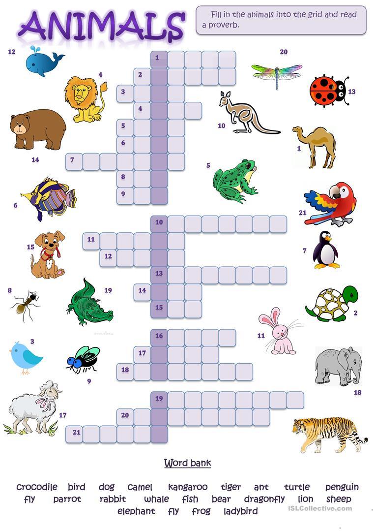 Animal Picture Crossword Worksheet - Free Esl Printable Worksheets - Printable Crossword Animal