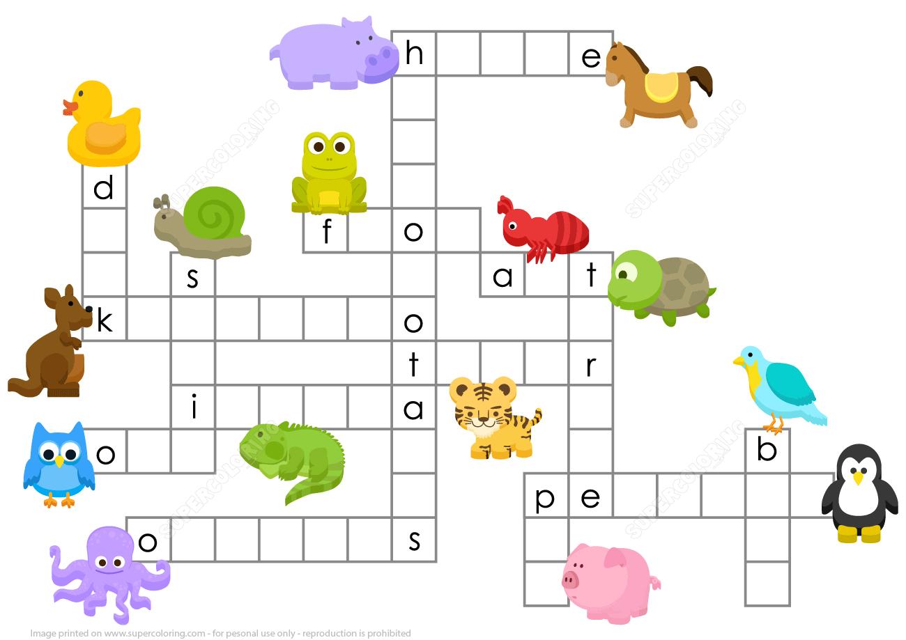 Animals Crossword Puzzle | Free Printable Puzzle Games - Printable Crossword Puzzle Animals