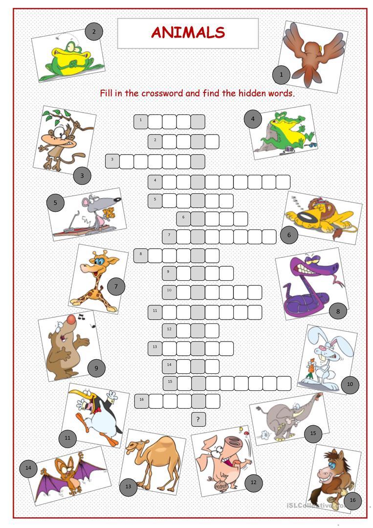 Animals Crossword Puzzle Worksheet - Free Esl Printable Worksheets - Printable Crossword Animal