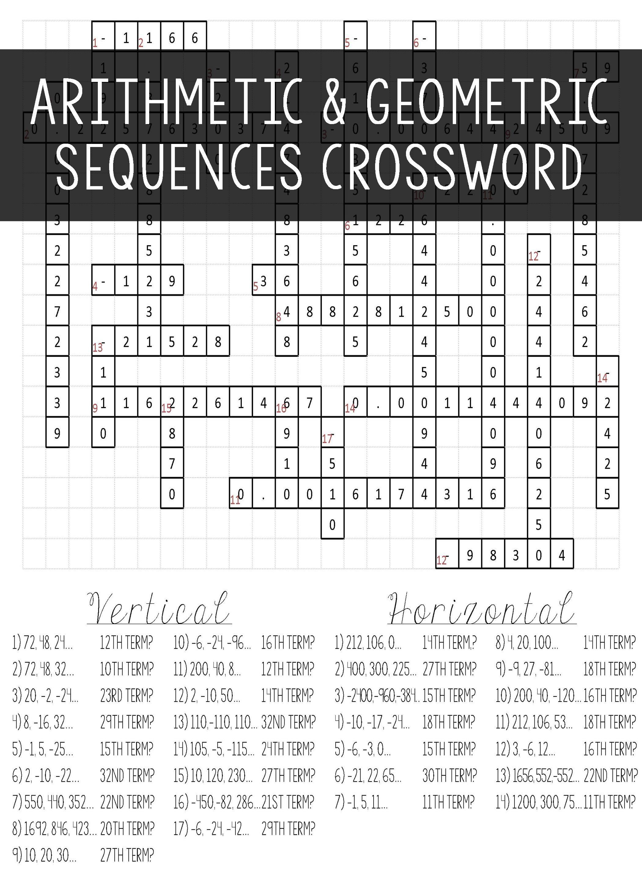Arithmetic & Geometric Sequences | Algebra I | Geometric Algebra - Algebra 2 Crossword Puzzles Printable