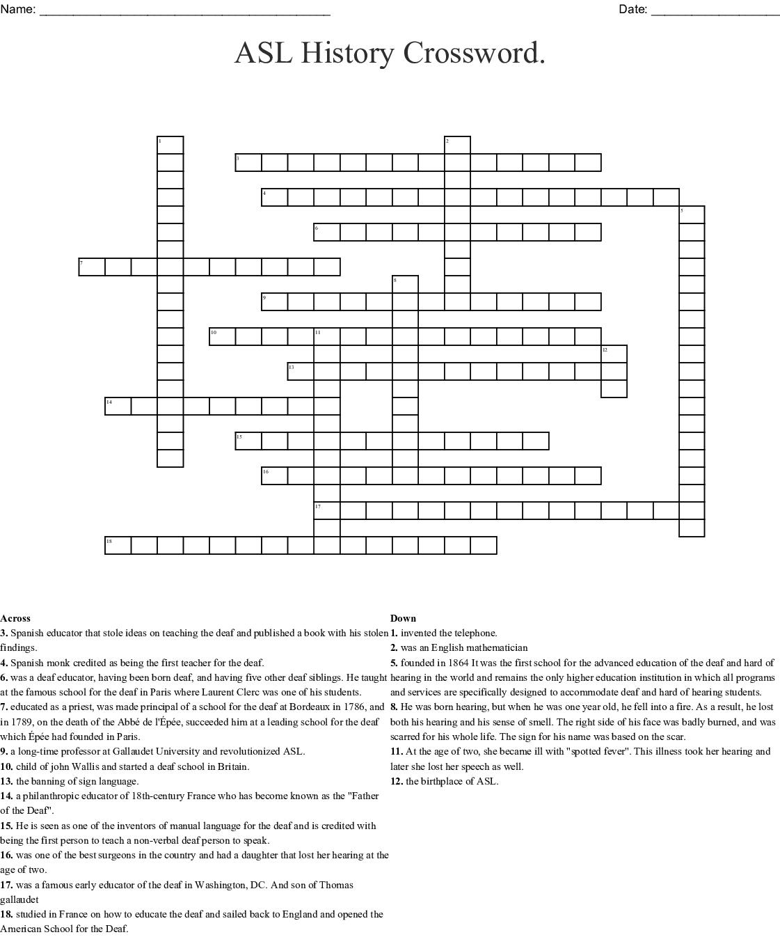 Asl History Crossword. Crossword - Wordmint - Printable History Crossword Puzzle