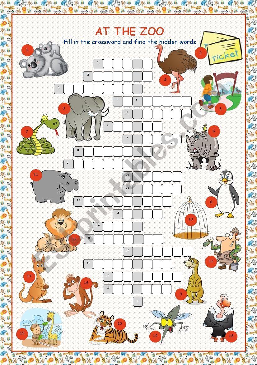At The Zoo (Crossword Puzzle) - Esl Worksheetkissnetothedit - Zoo Crossword Puzzle Printable