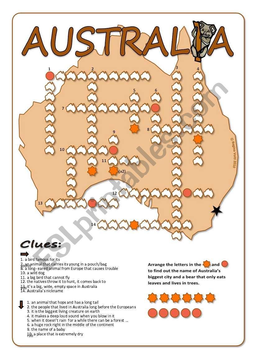 Australia Crossword Puzzle - Esl Worksheetblunderbuster - Printable Crossword Puzzles Australia