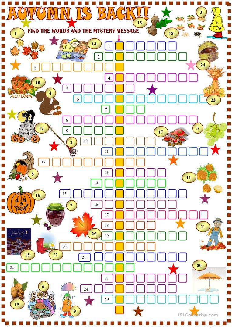 Autumn : Crossword Puzzle With Key Worksheet - Free Esl Printable - Printable Autumn Puzzles