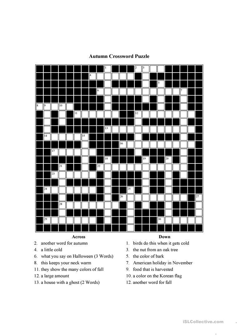 Autumn Themed Crossword Puzzle Worksheet - Free Esl Printable - Free Printable Themed Crossword Puzzles Halloween