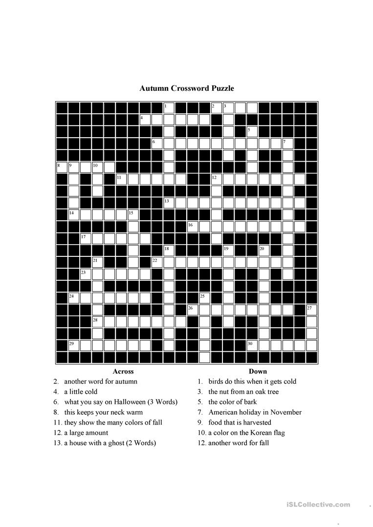 Autumn Themed Crossword Puzzle Worksheet - Free Esl Printable - Printable Crossword Puzzles Unblocked