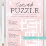 Baby Shower Crossword Puzzle Game . Baby It's Cold Outside Girl   Printable Baby Shower Crossword Puzzle Game
